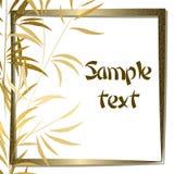 Guld- bambubakgrund med ramen Arkivfoton