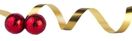 guld- band för baublesjul Arkivbilder
