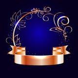 Guld- band och rund ram med dekorativa beståndsdelar royaltyfri illustrationer