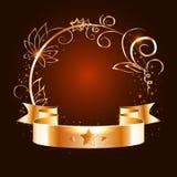 Guld- band och rund ram med dekorativa beståndsdelar stock illustrationer