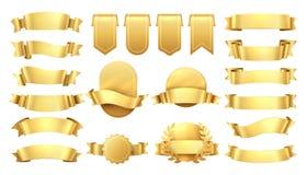 guld- band Skinande gamla etiketter, vågbanerbeståndsdelar, retro garnering för befordran, gul prisförsäljning Realistisk vektor stock illustrationer