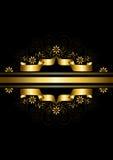 Guld- band som inramas av blommor med vridna linjer och pärlor Royaltyfria Foton