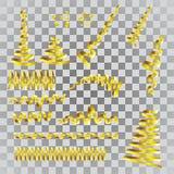 Guld- banderolluppsättning Guld- slingrande band som isoleras på trans. stock illustrationer