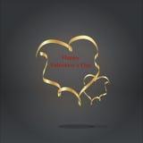 Guld- bandhjärta på den gråa bakgrunden Royaltyfri Foto