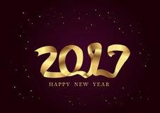 Guld- bandnatt för nytt år 2017 Stock Illustrationer