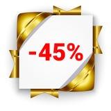 Guld- baner för rabatt 3d Bakgrund för vit fyrkant som binds med stödet Fotografering för Bildbyråer