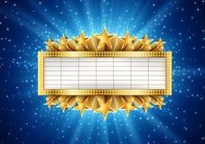 Guld- baner med stjärnklar bakgrund stock illustrationer