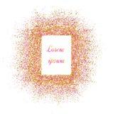 Guld- baner Guld mousserar på rosa bakgrund Banerlogo, ca stock illustrationer