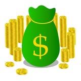 Guld- bankrörelsen för pengarpåsemynt Royaltyfri Bild