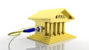 Guld- banksymbol med internetåtkomst Arkivbild