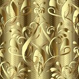 Guld- barock damast sömlös modell 3d Texturerat guld- dekorativt snör åt bakgrund Prydnad för utdragen tappning för hand blom- i  stock illustrationer