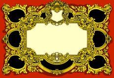 Guld- barock ram för tappning på röd bakgrund royaltyfri illustrationer