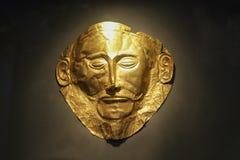 Guld- begravnings- maskering av Agamemnon Aten Grekland 01 04 2018 Royaltyfri Bild