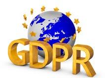 Guld- begrepp för GDPR som 3D isoleras på vit Arkivbilder
