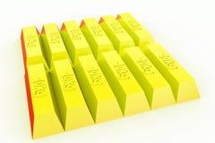 guld- begrepp för tegelstenar 3d Fotografering för Bildbyråer