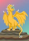Guld behandla som ett barn draken på vagga Arkivfoto