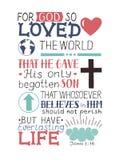 Guld- bibelvers John 3 16 för gud så som älskar världen, gjort handbokstäver med hjärta och kors Arkivbilder