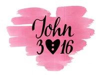 Guld- bibelvers John 3 16, gjort handbokstäver på vattenfärghjärta Fotografering för Bildbyråer