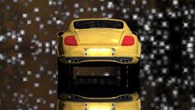 Guld- bil under stjärnorna stock video