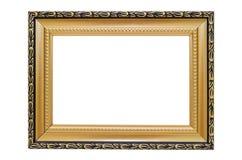 Guld- bildram på en vit bakgrund arkivfoton