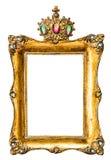 Guld- bildram som dekoreras med gemstones arkivbild