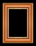 Guld- bildramar på svart Fotografering för Bildbyråer