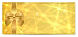 Guld- biljett, för pilbågevektor för guld- biljett guld- design för mall för mellanrum med guld- bakgrund för stjärna royaltyfri illustrationer
