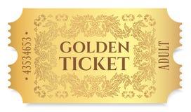 Guld- biljett, guld- teckenreva-avbiljett, kupong som isoleras på vit bakgrund vektor illustrationer
