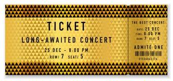 Guld- biljettmall, modell för biljett för konsertbiljettreva-av på guld- och svart bakgrund royaltyfri illustrationer