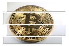 Guld- Bitcoin Art With White Background High kvalitet Arkivbild