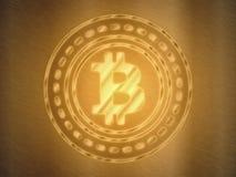 Guld- Bitcoin BTC symbol som göras från färg för signalljus för metallstål glänsande guld- som en skatt för högt värde royaltyfri illustrationer