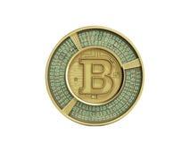 Guld- bitcoin 3d framför på vit bakgrund ingen skugga Arkivfoto