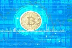 Guld- Bitcoin digital valuta fotografering för bildbyråer