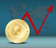 Guld- Bitcoin digital valuta En eller det enkla myntet på mörker - slösa med världskartan och den röda pilen Bitcoin bryta Royaltyfri Fotografi