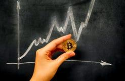 Guld- Bitcoin faktiskt mynt i m?nsklig hand mot svart tavla med grafen f?r kritateckning arkivfoto