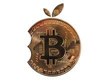 Guld- bitcoin i form av en tuggaapelsin Isolerad vitbakgrund Mayerized Crypto valuta Lönelista till och med internet Royaltyfri Foto