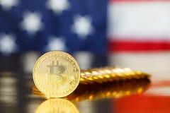 Guld- Bitcoin i USA Royaltyfria Bilder