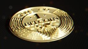 Guld- Bitcoin Lens distorsion och kromatisk effekt 3D makro r Arkivbild
