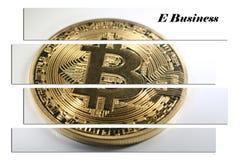 Guld- Bitcoin med detaffär materielfotoet Arkivfoto