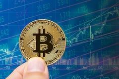 Guld- bitcoin med finansiell marknadsföring för pengarutbyte Royaltyfria Foton