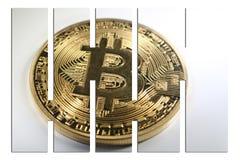 Guld- Bitcoin med högkvalitativa stänger Royaltyfri Bild