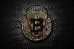 Guld- bitcoin med skallen och korslagda benknotor fotografering för bildbyråer