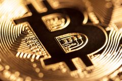 Guld- Bitcoin närbild Royaltyfri Foto