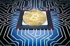 Guld- bitcoin på strömkretsbräde Arkivfoton