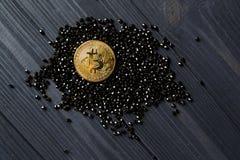 Guld- bitcoin på svarta juvlar Guld- mynt av cryptocurrencyen Arkivbilder