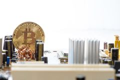Guld- Bitcoin pengar på datoren Royaltyfri Fotografi
