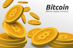Guld- Bitcoin symbolbakgrund Blockchain teknologi för cryptocurrency Royaltyfria Bilder