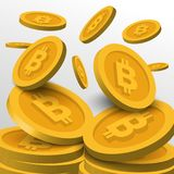 Guld- Bitcoin symbolbakgrund Blockchain teknologi för cryptocurrency Arkivbild