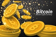 Guld- Bitcoin symbolbakgrund Blockchain teknologi för cryptocurrency Fotografering för Bildbyråer