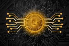 Guld- Bitcoin symboler på bakgrund för tryckströmkretsbräde Arkivfoto